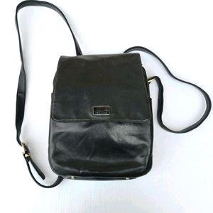 Vintage Black  Leather Perlina Backpack Organizer